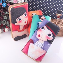 2015 new arrival hot sale girl face pu lady wallet women wholesale