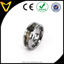 Fashion Jewelry Men's Ring 8mm Tungsten Meatal Ring Men's Camo Hunting Camouflage Comfort Fit Wedding Band Green/Yellow Tree
