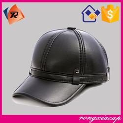 wholesale custom winter leather baseball cap with ear flaps