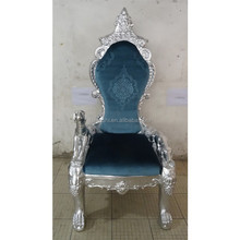 Louis XV king armchair Regal Throne Chair silver finish and blue velvet