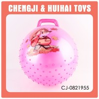 pink beautful sport jumping toy bouncy ball with handle
