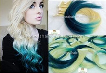 two tone color no shedding skin pu weft human hair extensions