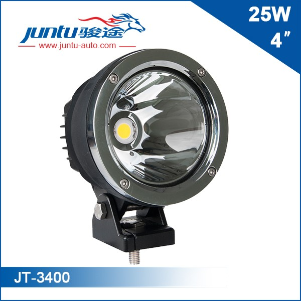 &#10Model No.:JT-3400&#10LED Chip: CREE&#10Power: 4inch 25W&#10Lumen: 1800LM&#10Beam Pattern: Spot Beam&#10Working Voltage: 9-32V&#10Current: 2.1A@12V, 1.2A@24V&#10IP Rating: IP67&#10Housing Materials: Die-cast Aluminum&#10Mounting Bracket: Stainless Steel&#10Life-span: 30,000 Hours