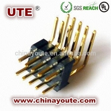 Right angle single row 4 pin header connector 2.54mm press fit type