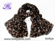 2015 new design leopard print chiffon scarf wholesale