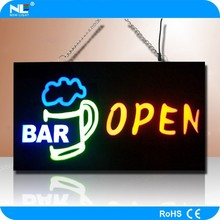 New product neon bar sign/rechargeable battery powered 12V mini led display/moving message led sign