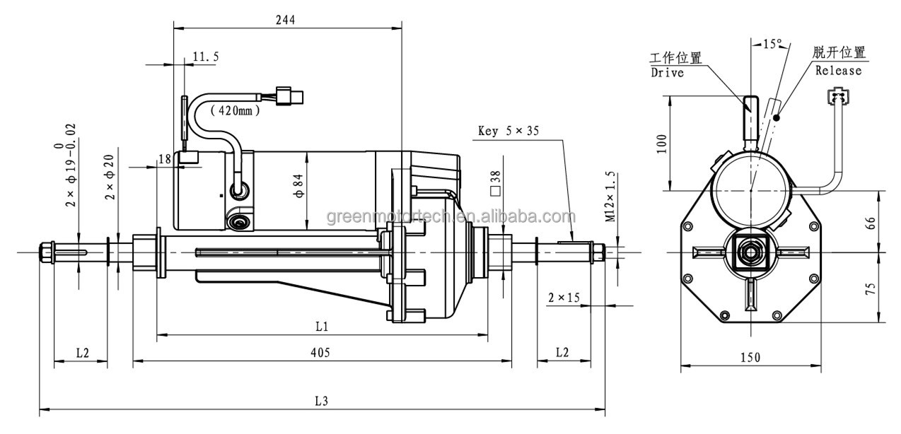 electric mobility scooter motors transaxle rear