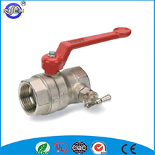 Female ends with red aluminium handle with drain with T-handle brass air vent ball valve
