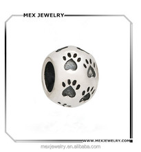 Dog Round Paw Print Authentic 925 Sterling Silver Bead Charms wholesale
