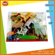 en miniatura de juguete de plástico conjunto de animales con la figura grande en caja del pvc
