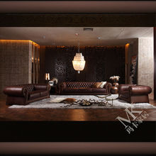 The luxury oversized chesterfield sofa HD288 with brown anilline leather