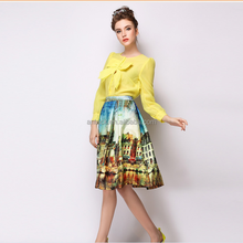 HJQ-1007 Veri Gude 2015 summer latest fashion landscape design n women pleated long skirt