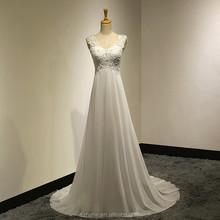 Jm. Bridals MZY231 gasa de marfil elegante del rastro de encaje con aplicaciones desmontable abrigos sin mangas de una línea Beach Summer Wedding Dress