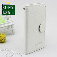 wallet flip leather cover case for sony xperia zl l35h