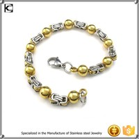 cheap wholesale stainless steel bead gold bracelet designs men