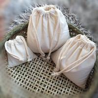 Customized white cotton drawsring bag