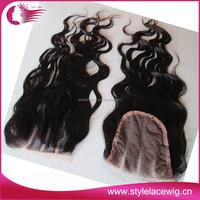 6A grade any length brazilian 3 part silk base lace closure