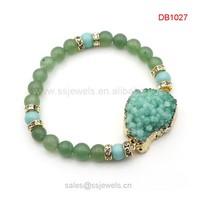 Crystal jewelry Druzy Stone Green Aventurine Beaded Bracelet Joyas De Plata