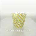 venta caliente de la mano de cristal soplado a rayas de color potable vaso vasos conjunto