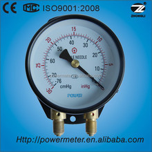 100mm / 4'' bottom connection duplex pressure gauge with negative scale