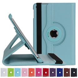 Manufactory Tripled Folded Stand 360 Degree Rotating PU Leather Flip Cover Smart Awakening Case for iPad Mini 4 Tablet