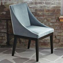 Steel Blue cojín y manchada de chocolate de madera piernas muebles