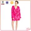 2015 new design flannel bowknot printing lovely lady bathrobe