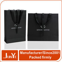 Custom printing luxury black matte retail paper bag packaging design