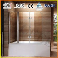 Pivot and folding 6mm Glass Shower Screen for Bathtub 1000x1400mm EX-206
