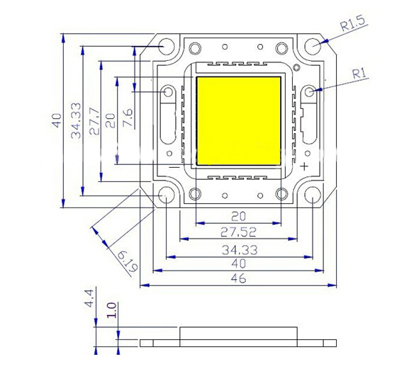 factory price epistar bridgelux chip 50w white high power led diode 12000K