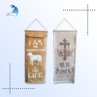 Custom design wall mounted hanging printed double side linen canvas decoration banner flags