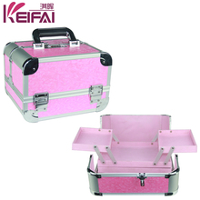 High-End pink pu Double Open Professional Makeup Trolley Case With 4 Trays