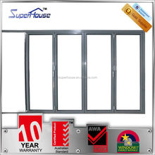 superhouse commercial double glass aluminum toilet bi folding doors with Australian standards AS2047 AS2208 AS1288
