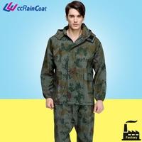High quality resuable printed military rain poncho