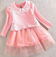 1519 2015 wholesale south Korea fashion spring new false two pieces lace pure color sweet princess long sleeve girl dress