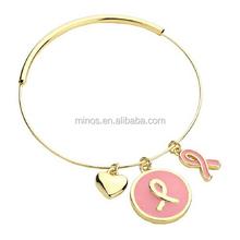 regolabile Golden braccialetto rosa nastro breast cancer awareness braccialetto cuore