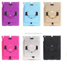 Custom Handheld Rotating Case for iPad, For Apple iPad Air PU Leather Back Cover Case Casing