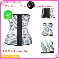 Cheap Money Printed Latex Waist Women Latex Slimming Corset