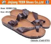 2015 new fashion men Birkenstock leather sandals wooden sole shoes