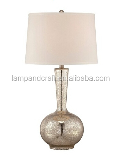 2016 Hot Sale Hotel Glass Table Lamps With Gold Vase And
