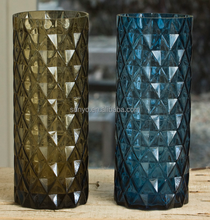 Engraved DOF leadfree crystal high quality customized size blue brown solid color cylinder glass vase