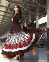 Triveni Phenomenal Brown Colored Printed Cotton Anarkali 8317A
