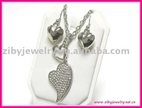 Dual crystal heart pendant link long necklace and earring set