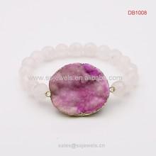 Faceted rose quartz bead bracelet with druzy stone pendant fashion jewelry