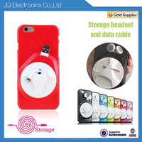 New colorful mobile phone shell case with storage function of headset & data cable for iphone6 cover