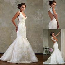 2015 Elegant Mermaid Deep V-neck Sleeveless Open Back Floor-length Sexy Satin Bridal Gown Women Wedding Dresses WD1972