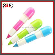 plastic pill shaped retarctable ballpoint pen