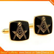 Black Masonic Cufflinks with Gold Setting ZB0604 - cufflinks supplier,low price cufflink