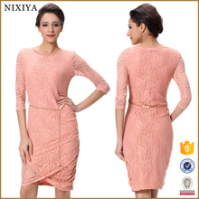 Wholesale price pleated lace fashion dress for woman