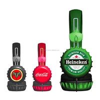 Promotional China wholesale OEM ODM high quality custom logo printed stereo mp3 beer bottle cap headphone